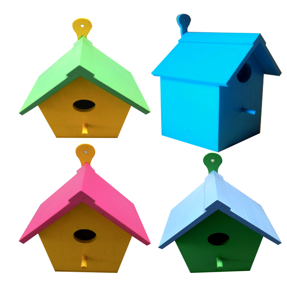 Custom handpainted colorful outdoor wooden bird houses