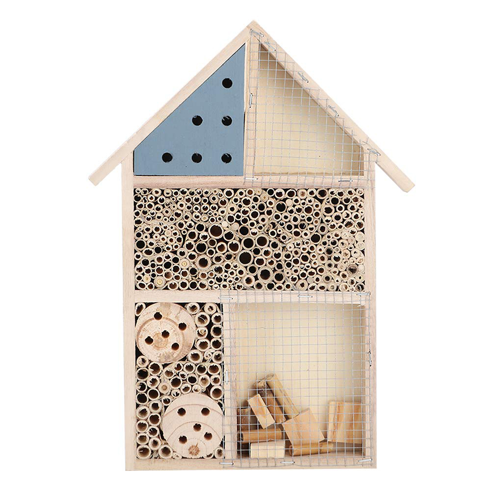Fdit Wooden Insect Bee House Insect House Garden Decoration Tube Bee Hotel for Solitary Bees