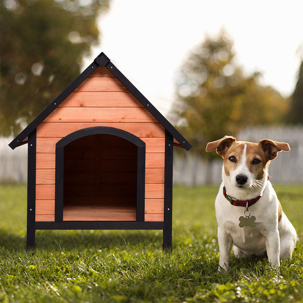 Tangkula Pet Dog House, Wooden Pet Kennel, Outdoor Weather Waterproof Pet House, Natural Wooden Dog House Home with Reddish Brown Roof, Pet Dog House